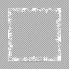 Blank Winter ice Snowflakes square frame template