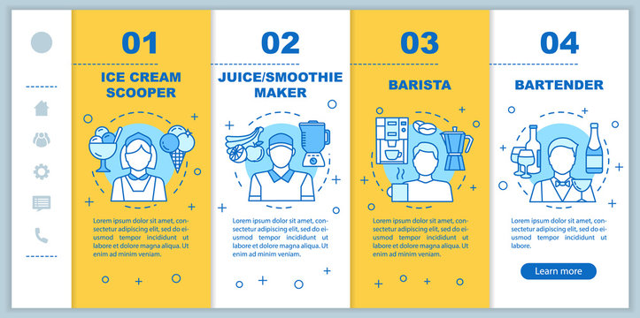 Cafe & fast food part-time job onboarding mobile web pages vector template. Responsive smartphone website interface idea with linear illustrations. Webpage walkthrough step screens. Color concept