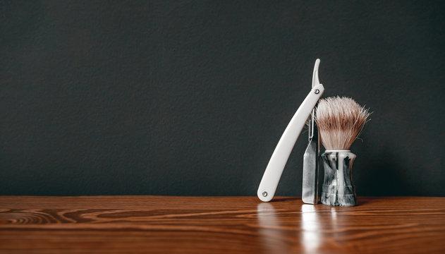 Shaving kit razor brush. Barbershop background for men beauty salon