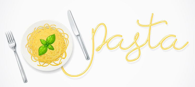 Spaghetti at plate. Pasta with ketchup. Noodles decorated basil leaf. Concept design for italian traditional food. White background. Eps10 vector illustration.