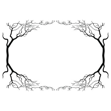 Oval floral frame with silhouetted bare trees.