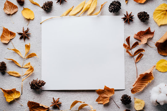 Autumn composition, thanksgiving day greeting card. White mockup paper sheet with faded floral decoration on stone background. Copy space.