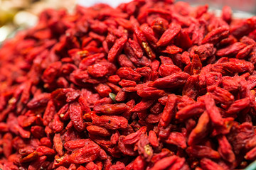 Close up of goji berries, a superfood, at the farmers market stall