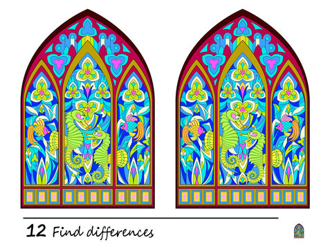 Find 12 differences. Logic puzzle game for children and adults. Print for kids brain teaser book. Illustration of medieval Gothic stained glass window. Developing counting skills. IQ training test.