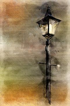 Watercolor Street Lamp