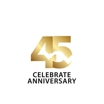 45 Years Anniversary Celebrate Gold Vector Template Design Illustration