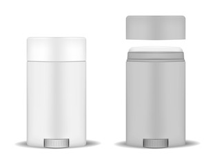 Antiperspirant deodorant stick, mockup. Open and closed container, realistic vector mock-up