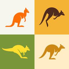 Set of Kangaroo logo. Icon design. Template elements