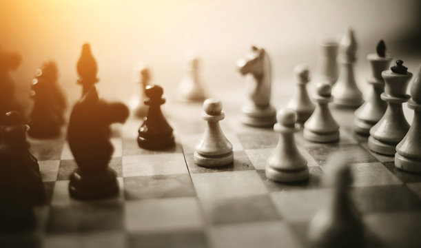 Chess pieces on the Board.