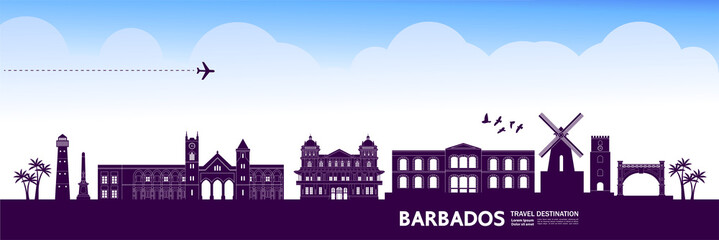 Fototapete - Barbados travel destination grand vector illustration.