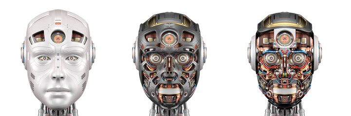 robot head or set of three different cyborg faces. Isolated on white background. 3d render