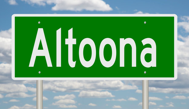 Rendering of a green highway sign for Altoona Pennsylvania