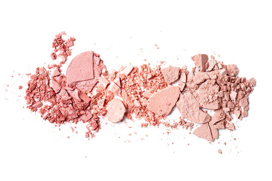 Various crushed blush over the white background. Make up artist, beauty salon, beauty blog