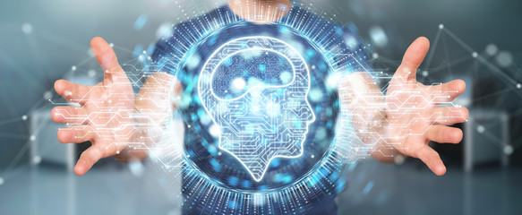 Wall Mural - Businessman using digital artificial intelligence icon hologram 3D rendering