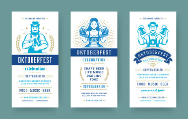 Oktoberfest flyers or banners set vintage typographic design templates vector illustration. Wall mural