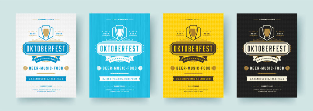 Oktoberfest flyers or posters retro typography emplates invitations beer festival celebration vector illustration