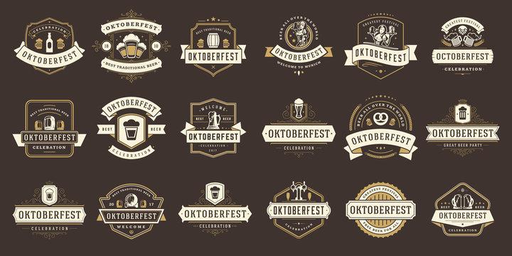 Oktoberfest badges and labels set vintage typographic design templates vector illustration.