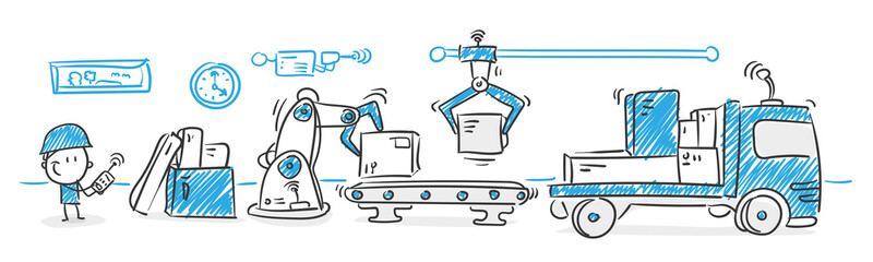 Stickman Blue: Industry 4.0, logistics, delivery. (Nr. 69)