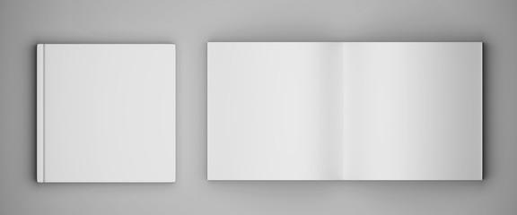 Blank square brochure magazine. 3d render Wall mural