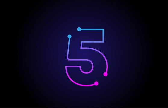 Number 5 logo icon design in pink blue colors