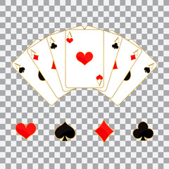 Set of playing cards and symbols, vector illustration.