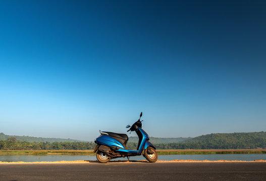 Bike on road in Goa, India