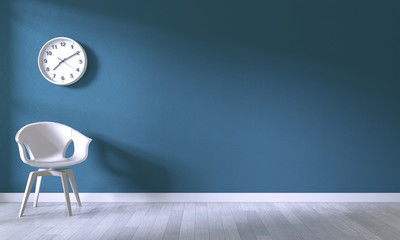 white chair on room dark blue wall background.3D rendering