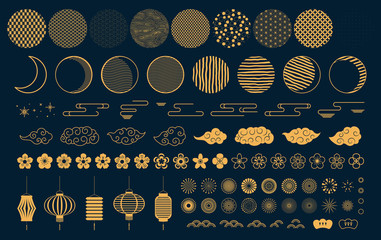 Set of gold decorative elements in oriental style with moon, stars, clouds, pattern circles, lanterns, fireworks, flowers, for Chinese New Year, Mid Autumn. Isolated objects. Vector illustration. Fotoväggar
