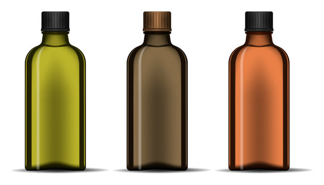 Clear dark color glass bottle with screw cap isolated on white background, realistic vector illustration. Blank template for design