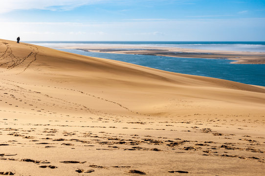 The Dune du Pilat of Arcachon in France, the highest sand dunes in Europe: paragliding, oyster cultivation, desert and beach.