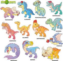 Keuken foto achterwand Dinosaurs cartoon cute prehistoric dinosaurs, set of images, funny illustrations