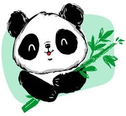 Hand drawn cute panda bear and bamboo. vector