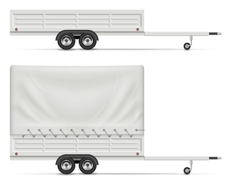 Small car trailer side view isolated on white background. All elements in the groups on separate layers for easy editing and recolor.