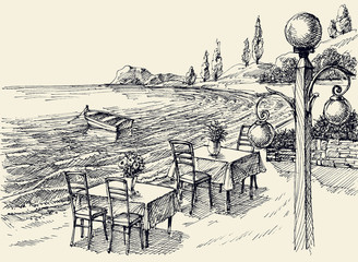 Restaurant terrace on the beach hand drawing