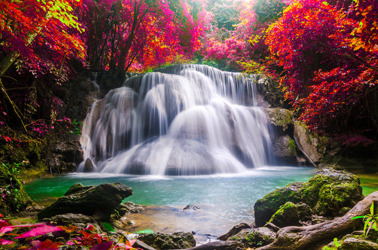 huay mae kamin waterfall in colorful autumn forest at Kanchanaburi