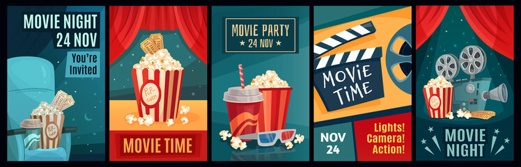 Cinema poster. Night film movies, popcorn and retro movie posters template. Cinematograph advertising banners, films ticket or movie show posters cartoon vector illustration set Wall mural