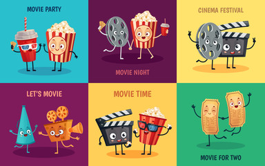 Cartoon cinema characters. Funny popcorn, cinema tickets and 3D movie glasses friends mascots. Cinematograph entertainment reel, popcorn and camera mascot poster vector illustration set