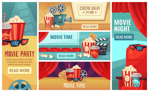 Cartoon cinema banner. Movie night tickets, cinemas popcorn and 3d film projector banners. Movies premier poster, ticket or retro invitation card vector illustration set