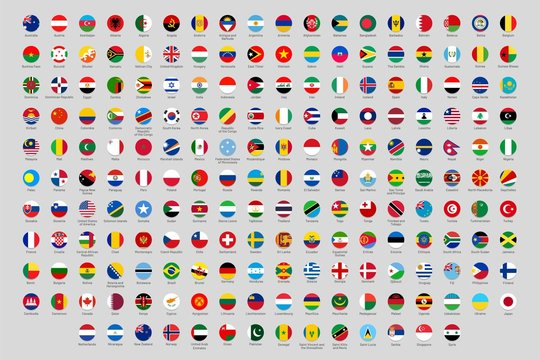 Round National Flags World Countries Flag Circles Official Country Rounded Symbols Ukraine Germany And China Flags Or Geography Lesson Round Country Profile Avatar Isolated Vector Icons Set Buy This Stock Vector