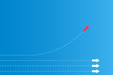 Have leadership or different concepts with directions Arrow Red and white paper and route lines on a blue background
