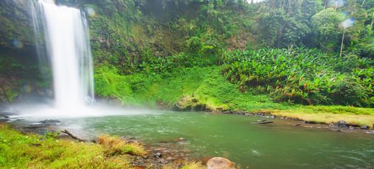 Printed kitchen splashbacks River Fresh tropical waterfall on rainy morning.