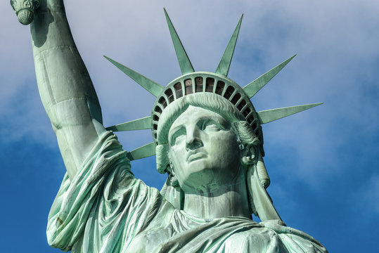 Portrait of the Statue of Liberty (close-up shot),  New York City, USA