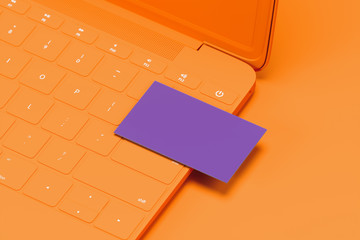 Orange laptop with violet blank business card on orange background. 3d rendering. Cozy working place. Minimalism
