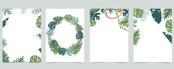 Wall Mural - Collection of leaf background set with gold geometric,leaves,wreath.Vector illustration for invitation,postcard and logo.Editable element