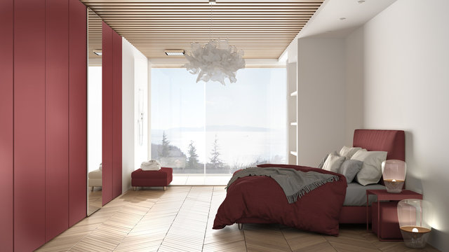 Minimalist white and red colored bedroom in contemporary space with parquet floor, shower, wooden floor, double bed, big wardrobe, large panoramic window, luxury interior design