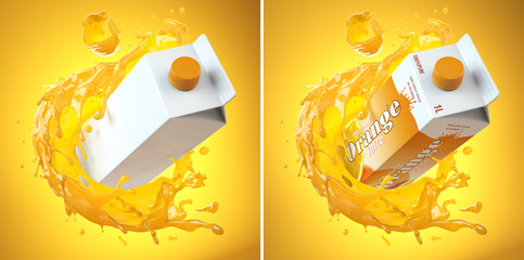 Foto op Canvas Sap Orange juice carton cardboard box and splashon orange juiceon yellow background. Mockup template.