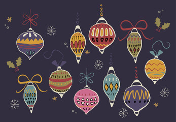 A Vector Illustration of Christmas Ornaments