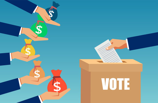 Vector of a lobbyist buying election vote.