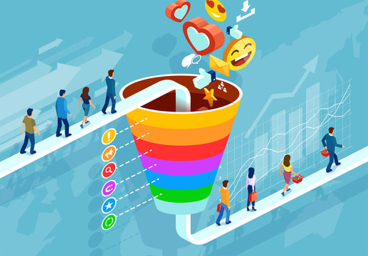 Social media marketing and target audience concept. Isometric funnel infographic of a customer retention