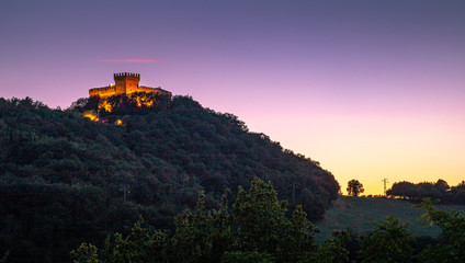 Gradara, Italy, the castle at sunset. Picturesque picture